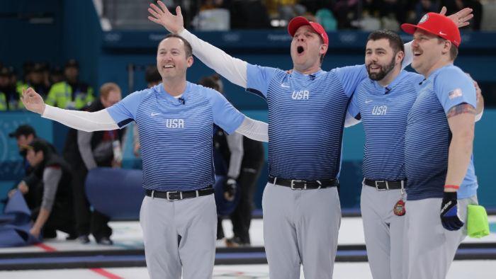 mens curling gold celegration